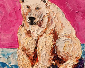 Polar Bear 5x5 Inch Original Impasto Oil Painting by Paris Wyatt Llanso