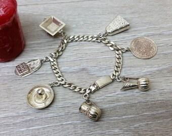 925 Mexican charm bracelet 60s SA159