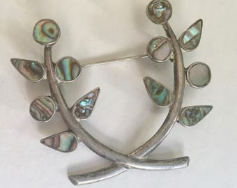 vintage abalone and sterling mexican flower brooch