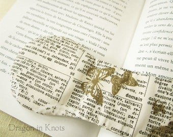 Dictionary Print Book Weight - Ivory Cream with Butterflies Weighted Bookmark, Page Holder, Studying Aid, Hands free Reading