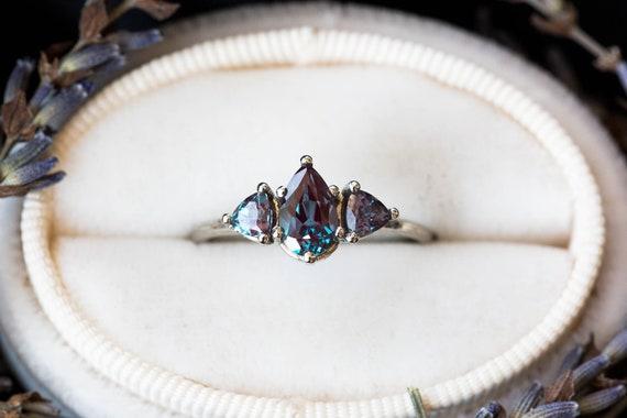 Alexandrite three stone twig ring, trillion pear ring, alternative engagement ring, nature engagement ring, chatham alexandrite ring, gold