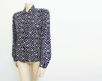 Vintage Blouse, Size 12, Ladies Clothing, Hippie Clothing, Blue Blouse, Secretary Blouse, Readymade Blouse, Clothing, Women's Clothing