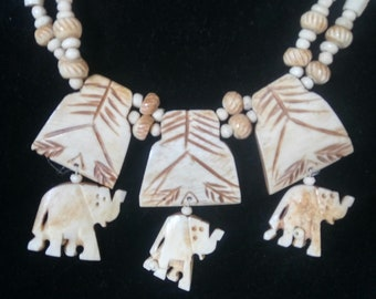 Hand Carved Bone Necklace