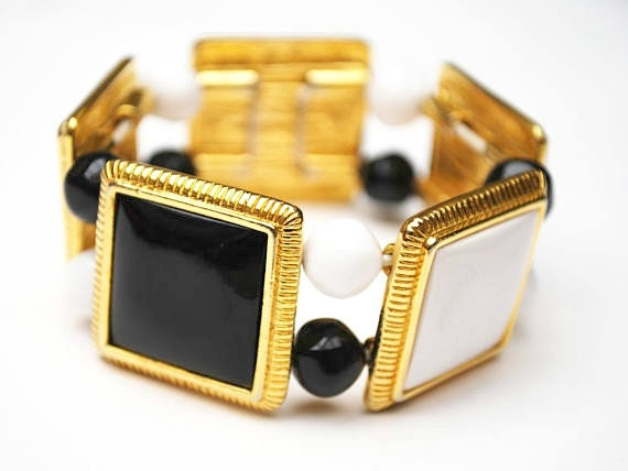 Liz Clairborne  Stretch Bracelet - black and white - gold panel and beads - Bangle