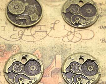10pcs Clock Gears charms, bronze tone Round Watch Face Charm Pendants 25mm ASD1539