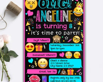 Emoji Invitations/ Emoji Birthday Invitations/ Emoji Birthday/ Emoji Party/ Emoji Party Supplies/ Emoji Invite/ Emoji Printable/ Emoji Card