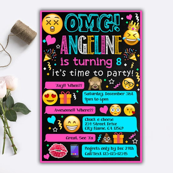 Emoji Invitations/ Emoji Birthday Invitations/ Emoji Birthday/