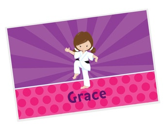 Karate Personalized Placemat - Karate Kid Girl Purple Rays Pink Dots with Name, Customized Laminated Placemat