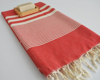 NEW / SALE 50 OFF/ Turkish Beach Bath Towel / Classic Peshtemal / Red / Wedding Gift, Spa, Swim, Pool Towels and Pareo