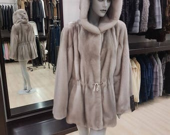 real fur mink jacket coat with hood silver blue best quality