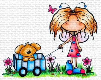 Peggy and Puppy Digital Stamp by Sasayaki Glitter