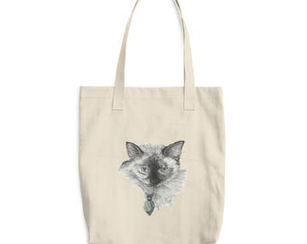 Siamese Cat Cotton Tote Bag
