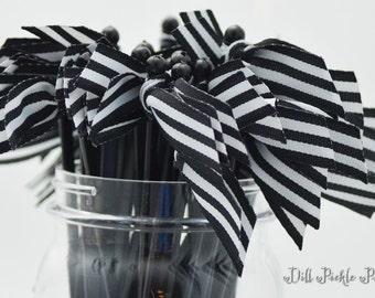 Black & White Stripe Grosgrain Ribbon Cocktail Stirrers - 25 count black stir sticks
