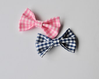 Gingham Signature Bow - Pink Gingham/ Navy Gingham