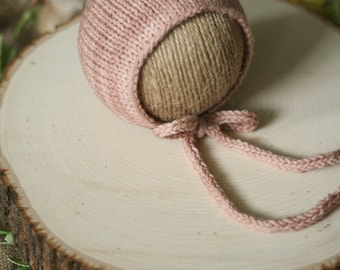 Simple Knit Bonnet with Knitted Tie in Soft Petal Pink - Newborn Knit Bonnet - Ready to Ship
