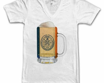 Ladies New York City Flag Beer Mug Tee, Home Tee, City Pride, City Flag, Beer Tee, Beer T-Shirt, Beer Thinkers, Beer Lovers Tee