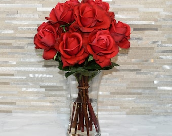 Real Touch Artificial Rose Arrangement In Vase-12 Roses