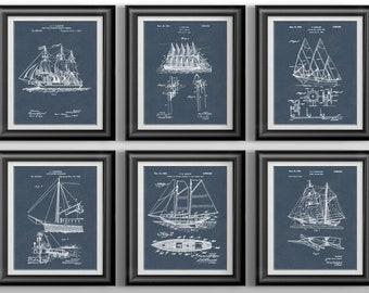 Navy Sailor Nautical Decor * Bathroom Beach Decor * Pirate Nautical Nursery * Sailing Coastal Wall Art * Beach Wall Art Set of 6 PP 8690