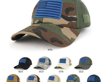 US American Flag Navy Embroidered Patch Low Crown Adjustable Tactical Mesh Cap  (T91-USA-NVY-T80)