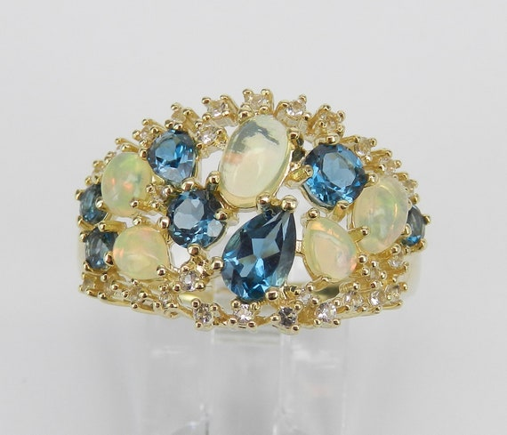 Yellow Gold Opal London Blue Topaz White Sapphire Cocktail Ring Size 7 October Gem