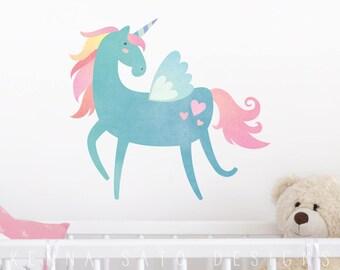 Watercolor Unicorn Wall Decal - Wall Decor, Unicorn, Gift for Her, Unicorn Decor, Nursery Decor, Watercolor Wall Art, Reusable Wall Decal