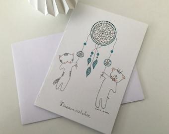 """Folded card """"Choumi et Michou dreamcatcher"""""""