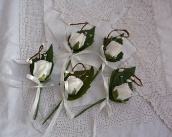 White rosebud, pip berry and jewel spray boutonniere -  artificial wedding buttonhole