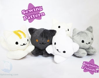 Sewing Pattern PDF Cat Kitty Beanie Plushie Kawaii Plush Pattern Kitten Beanie Baby Neko Atsume Style