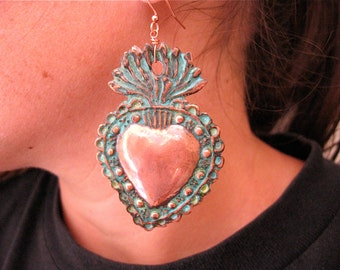 """LG. SACRED HEART Intricate Copper Milagro Earrings- Perfect gift for the one you love- 2.75"""""""