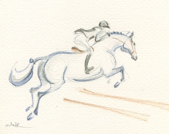 """Jumping Horse Painting, Original, Equestrian Art Watercolor by Anna Noelle Rockwell, """"Gray to the Brown Oxer"""""""