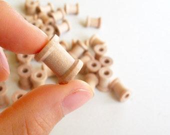 """25 Miniature Wooden Spools  5/8""""x1/2"""" (16mmx12mm) -Wooden Spools Decorative -Small Spools -Natural Wooden Spools"""