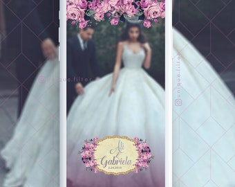 Purple Lilac Geofilter | Floral Wedding Geofilter | Custom Text Design | Snapchat Geofilter