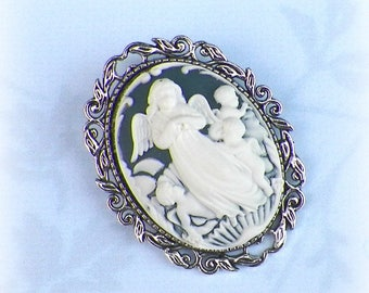 Pin Brooch Angel Cameo Victorian Lady Vintage Style Steampunk Antique  Gold Style