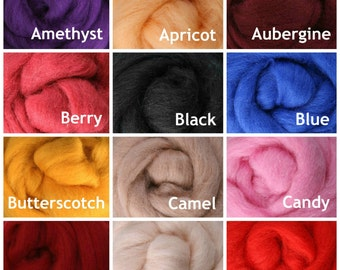 1 lb. Wool Roving, New Zealand Corriedale - Choose from 60 Colors! Spinning Fiber, Roving.
