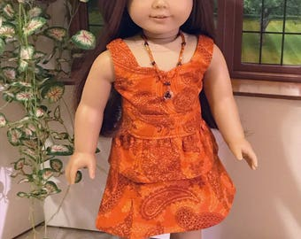 Fits American Girl Doll and other 18 inch Dolls, Orange Wrap Skirt Blouse Set