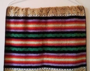 Colourful vintage hand towel, vintage towel, striped vintage hand towel