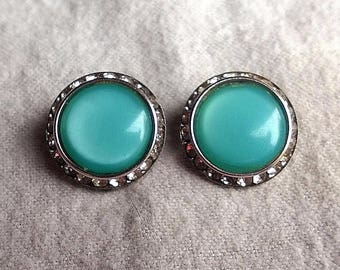 Vtg Signed LISNER Rhinestone & Aqua Moonglow Lucite Round Dome Clip On Earrings