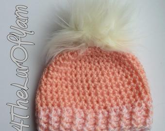 Newborn hat, Pom Pom Beanie for baby, Baby Hat with Pom Pom, Crochet Newborn Hat for Girl, Winter Hat, Baby Girl, Newborn baby girl beanie