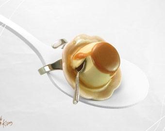 Crème Caramel Ring, Dessert Jewelry, Miniature Food Jewelry, Polymer Clay Jewelry, French Dessert Ring, Mini Food Ring, Foodie gift