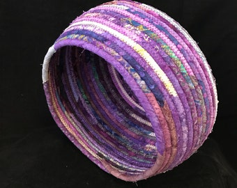 Sturdy Coiled Fabric Basket in Shades of Purple