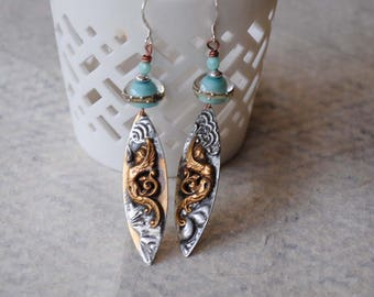 Winged Goddess Earrings, Long Stamped Solder Earrings, Lampwork Glass Bead Earrings, Brass Earrings, Boho Chic Earrings, Mythical Earrings