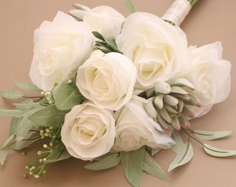 White Rose and Succulent and Bouquet - Artificial Succulents, Bouquet