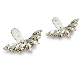 Earrings plant below lobe, Silver earrings, ear jackets, sterling silver