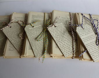 50 vintage book text pages /ephemera/tags