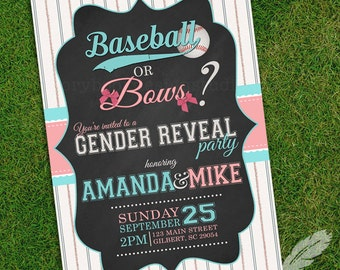 Baseball or Bows Gender Reveal Invitations, baby shower, digital file, you print