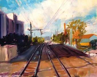 Train Tracks in Luxembourg oil painting