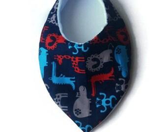 Bavoir bandana coton motifs animaux bleu marine