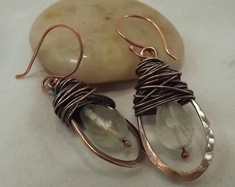Copper and Faceted Green Flourite Teardrop Wirewrapped Earring