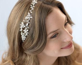 Crystal Wedding Headband, Rhinestone Bridal Headband, Crystal Headband, Floral Headband, Headband for Bride, Bridal Hair Accessory ~TI-3232