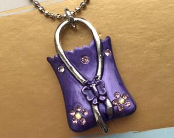 Bag necklace charm necklace - purple